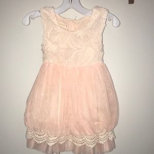 Rose Girls Dress W/Lace & Rose detail.